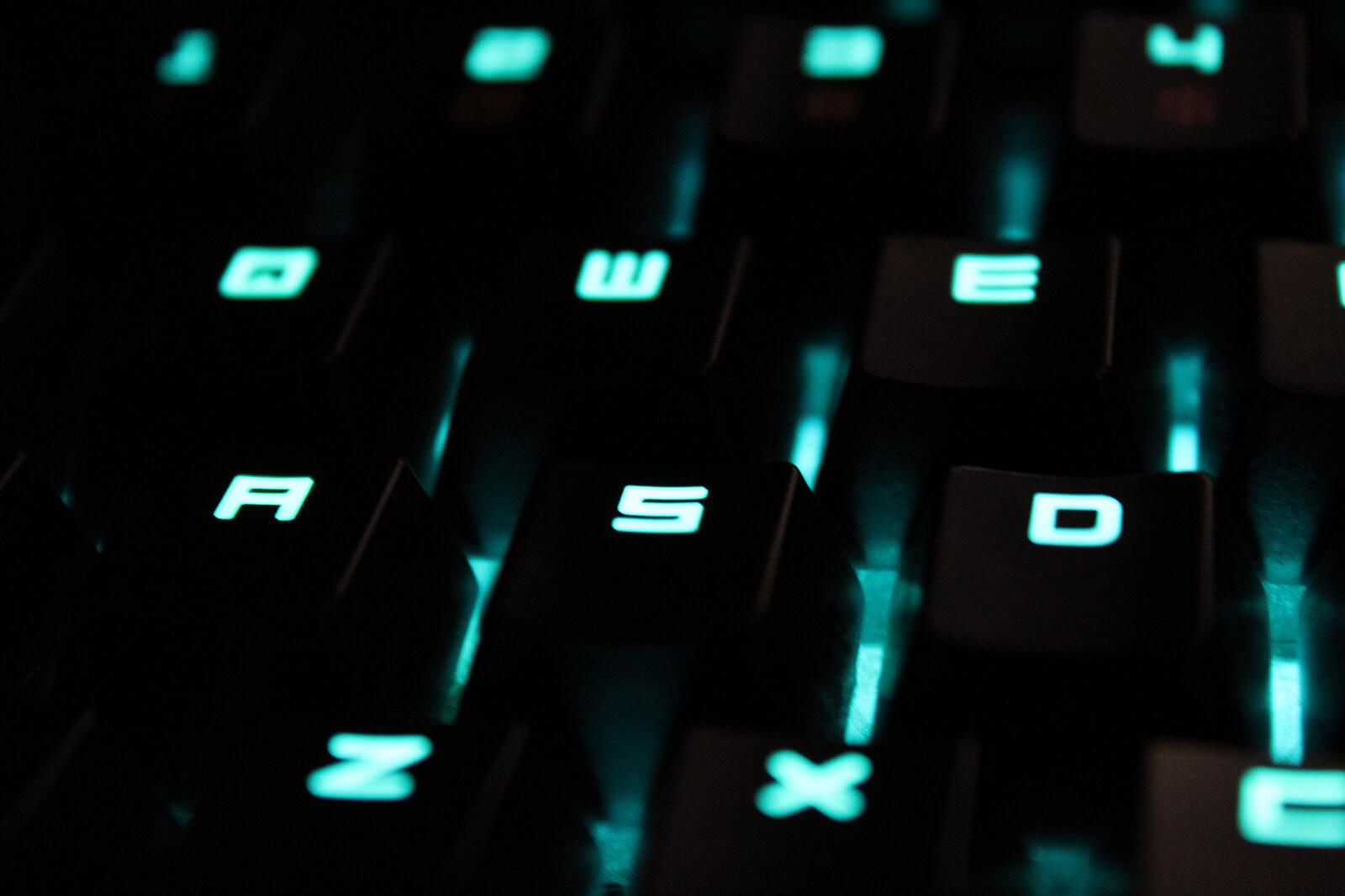 podświetlone klawisze klawiatury