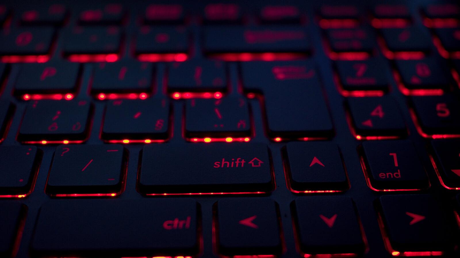 podświetlenie klawiatury kolor czerwony