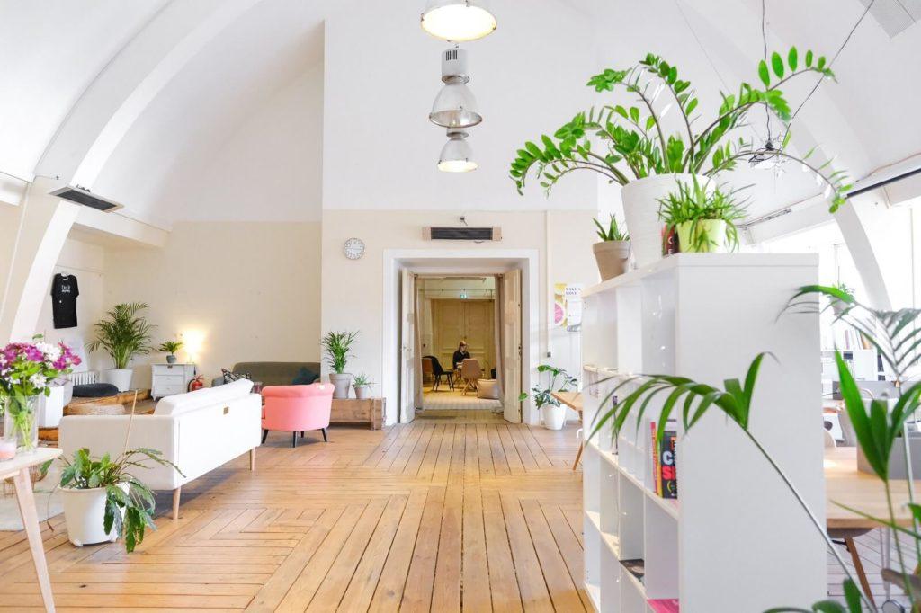 Salon z jasnymi ścianami i drewnianą podłogą