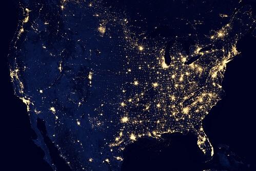 Stany Zjednoczone nocą z kosmosu