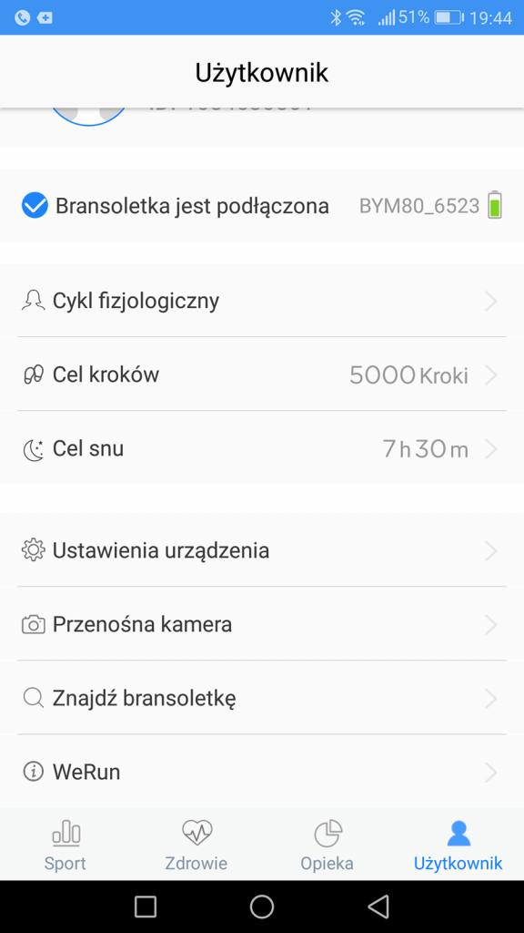Ustawienia aplikacji HeroBand II