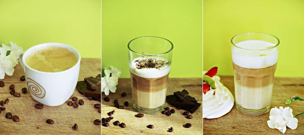 Trzy typy kawy z ekspresu LatteGo