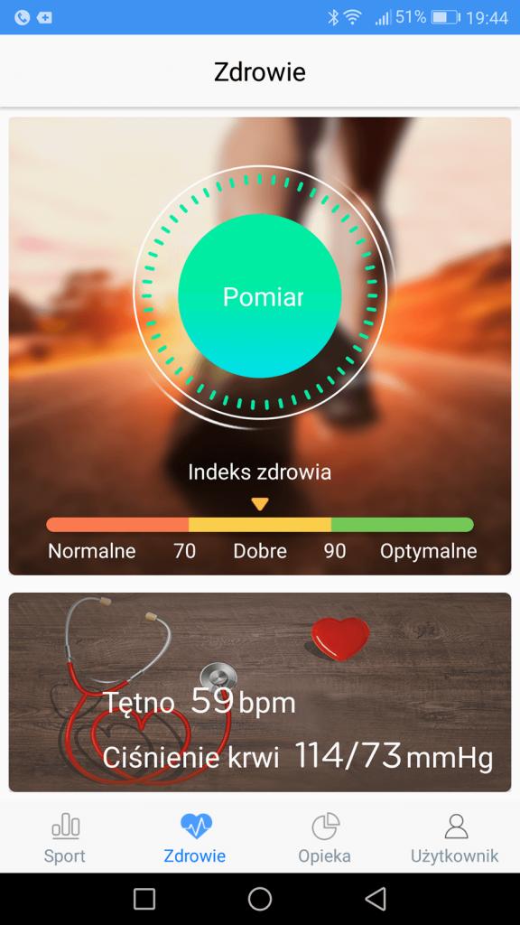 Podgląd stanu zdrowia w aplikacji