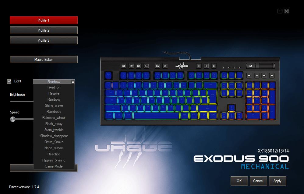 Oprogramowanie klawiatury Exodus 900